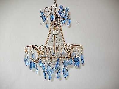 ~c 1920 Italian Blue Murano Glass & Crystal Prism Macaroni Flowers Chandelier~
