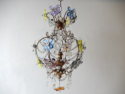 ~c 1920 French Multi Colored Murano Drops Crystal Prisms Bagues Chandelier ~
