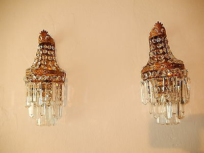~c 1930 French Big Crystal Prisms Bronze Sconces Empire Rare Beautiful Tiers~