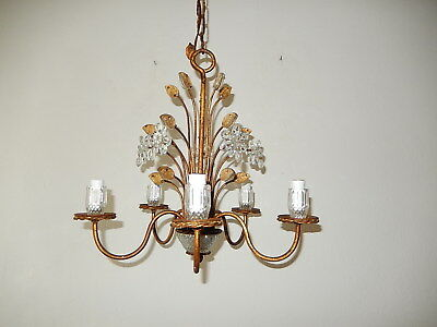 c1940 RARE Crystal  French Maison Bagues Style Flowers Leaves Chandelier~
