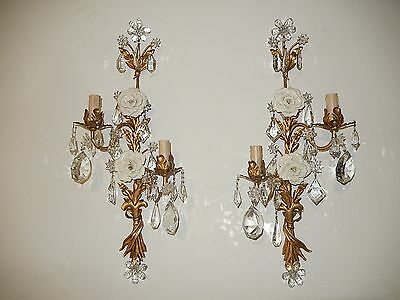 ~c 1910 French Maison Bagues Gilt Tole Crystal Prisms Sconces RARE with Roses!~