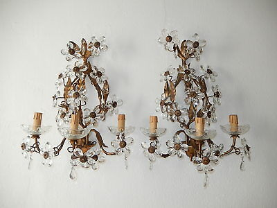 ~c 1900 French Maison Bagues Style Huge Flower Prisms Sconces~