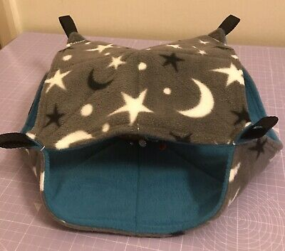 New Double Decker Quilted Hammock For Rats+small Animals.MOON + STARS FLEECE🌙🌟