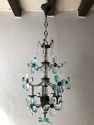 ~c 1900 French Maison Bagues Style Aqua Blue Crystal Prisms Flowers Chandelier ~