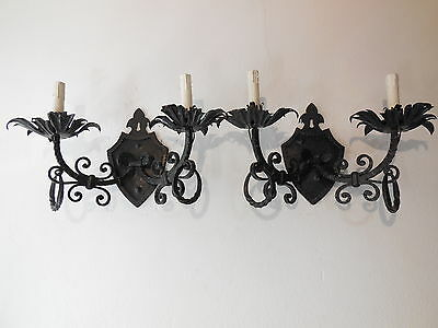 ~c 1920 French Set of Four 4 Wrought iron Crest Shield Medieval Castle Sconces ~