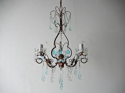~c 1920 French Maison Bagues Style Aqua Blue Crystal Prisms Flowers Chandelier ~