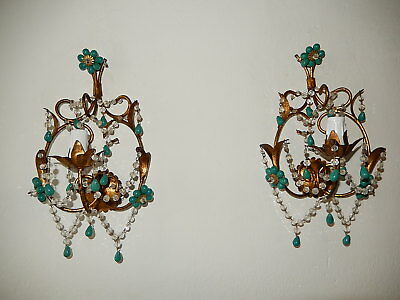 ~c1920 French Turquoise Green Murano Beads Rock Crystal Swags Sconces~