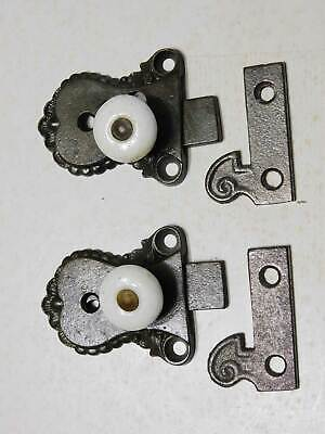 Pair of Cupboard Latches Antique Circa 1860 Cast Iron with Porcelain Knob
