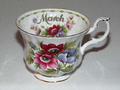 Vintage Royal Albert Bone China  March Flower Of The Month Tea Cup Anemones
