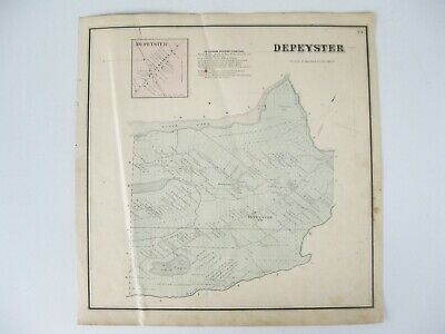 Vintage 1865 Map – Depeyster in St. Lawrence County, NY