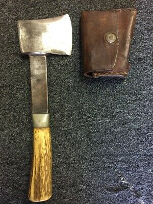 High End custom stag handle hatchet with sheath NOT RANDALL