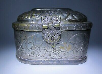 Antique! Persian Qajar Tinned Copper Tobacco Box, Engraved Flower, Leaves, Clasp