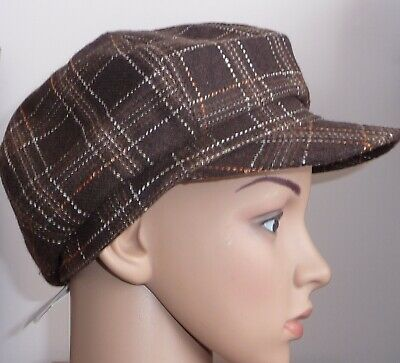83d1707badf Ladies Black Baker Boy Check Hat One Size Peaked Cap Newsboy Check Wool Mix  New