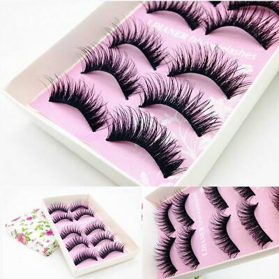 Set of 5 Pairs 3D Mink False Eyelashes Cross Long Thick Soft Fake Eye Lashes