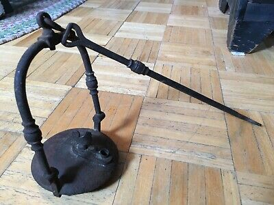 Early 19th Century PA Dutch HF & Cast Iron Oil Lamp Lift Off Lid W Rooster Screw