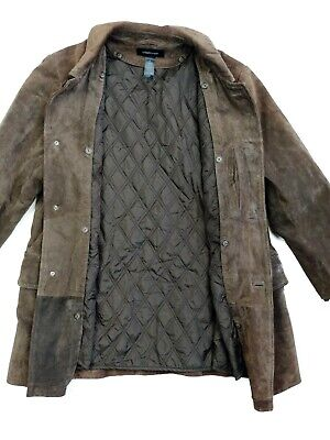 Claiborne Mens Browns Suede Leather Coat Jacket Removable Quilted Lining Size M