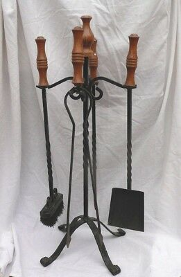 Vintage Wrought Iron Fireside Companion Set With Wooden And Twisted Handles.