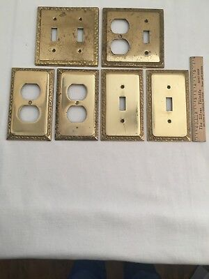 Set of 6 Vintage Ornate Solid Brass Toggle Light Switch Wall Cover Plates Italy