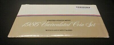 1986 US Mint Uncirculated Coin Set in OGP Envelope 10 Coins with P & D