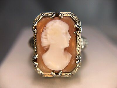 Vintage Art Deco 14k White Gold Pink Lady Cameo Filigree Cocktail Ring