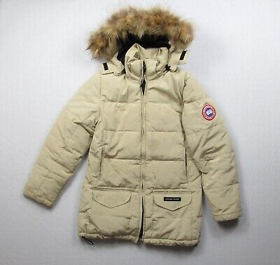 WOMENS CANADA GOOSE SOLARIS PARKA FUR HOOD Beige Defect Stained Size S