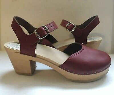 a61011cf2594 TOFFEL SWEDISH HASBEENS Red Leather Peep Toe High Heel Clogs Sz 40 ...