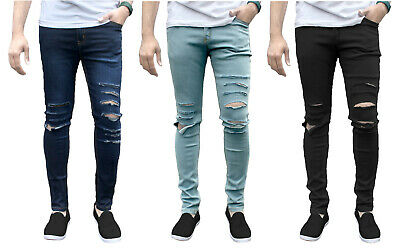 Mens Ripped Skinny Jeans Biker Distressed Stretch Slim Fit Jeans Trousers Pants