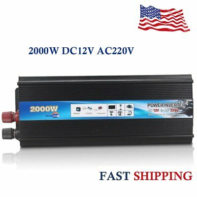 2000W DC12V AC220V Car Converter Power Inverter Electronic Charger Converter New
