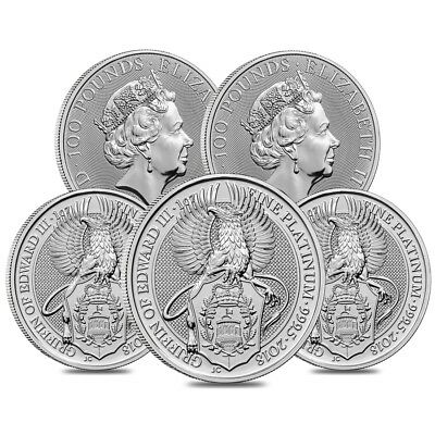 Lot of 5 - 2018 Great Britain 1 oz Platinum Queen's Beasts (Griffin) Coin BU