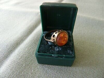 Runder Bernstein Ring 333 Gold