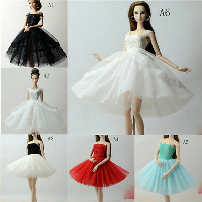 Handmade Doll Dress Clothes For  1/6 Dolls Party Sequin Tulle Gown DressJKUS