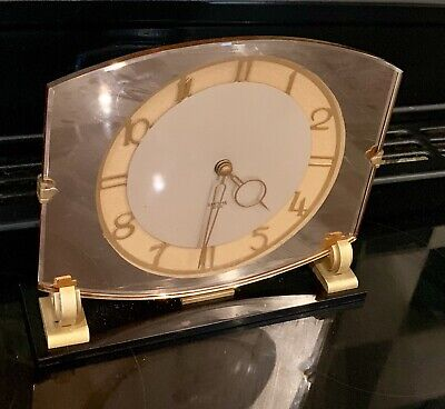 VINTAGE ART DECO SMITHS SECTRIC MANTLE CLOCK Pink Mirrored Glass Frame