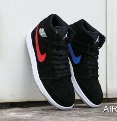 aceb80237f6 Nike Air Jordan Retro 1 Mid BLACK NUBUCK RED BLUE SWOOSH MULTI 554724-065  10.5
