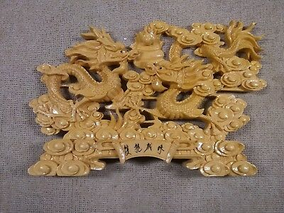 Chinese Boxwood?? hand-carved Two dragon figure statue(S/R)