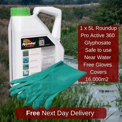 1X5L Roundup Pro Active 360 Strong Weed Killer With Free Gloves