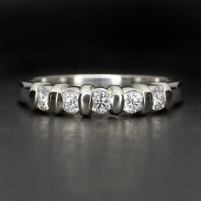 Excellent Cut Diamond 5 Stone Platinum Wedding Band Bar Set G Vs2 Stacking Ring