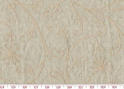 Embroidered 100% Linen Khaki Drapery Apparel Dress Fabric by Roth Fabrics RT-152