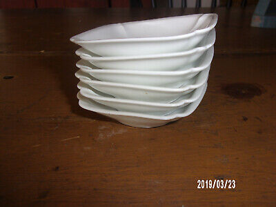 "6 Antique White Porcelain "" D & C "" Butter Pats Farmhouse Great w/ Ironstone"