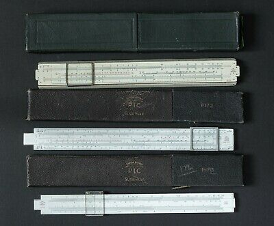 Three A G Thornton P.I.C Slide Rules P 101  P 172 and P 170 Junior with cases