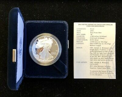 2003 W Silver Eagle $1 Proof w/Box and COA