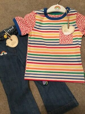 Little Bird By Jools Oliver Retro Style Flared Jeans & T Shirt With Hanger 18-24