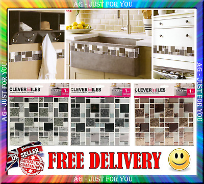 6Packs  Clever Tiles Self-Adhesive Glitter Mosaic Tile Sticker Bathroom Kitchen