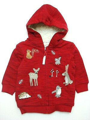 BNWT NEXT GIRLS' Red Colour Animal Character Zip Through Hoody 6-9 Months 9-12