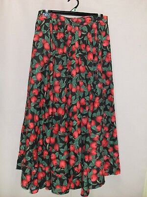 1980's Vintage Circular Maxi Skirt in Cherry Pattern.