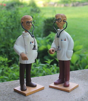 "Lot of 2 Vintage Hand-Carved Wood 12"" Doctors Figures Italy - Funky - Folk -Art"