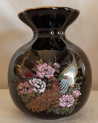 Vintage Black Lustre Vase With Ruffled Top Decorated With  Peacocks & Peony