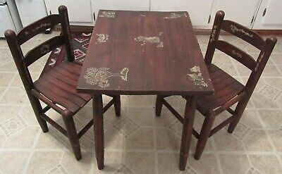 "Vintage Antique Child's Table and Chairs Set 21"" Tall Table Top 24"" X 18"""