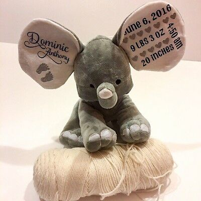 Baby Elephant, Birth Announcement. Cute Birth Announcement. Stuffed Elephant