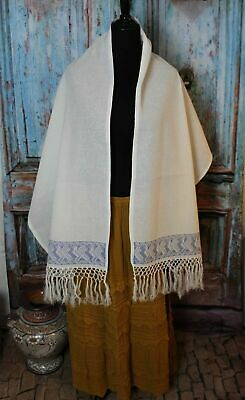 Mexican Rebozo Shawl or Scarf Hand Embroidered Puebla Hippie Boho Vintage Style