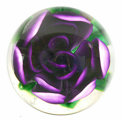 Signed Very Large Boyer Marble with Purple Crimp Rose